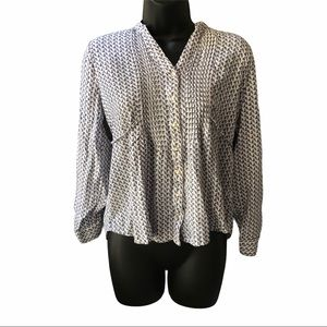 Anthropologie Mine Button Up Top Size L